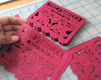 Mexican Wedding Invitation Inserts Personalized Custom Color Dos Palomitas Papel Picado Embellishments
