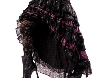 Ruffle Skirt, READY TO SHIP, Cabaret, Vaudeville, Steampunk, Vampire, Purple, Black, Noir, Gothic, Tribal, Victorian, Belly Dance