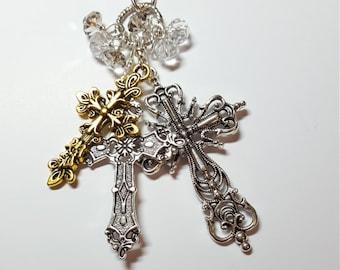 Three Cross Necklace  Handmade