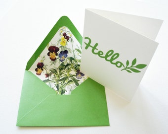 Upcycled Flower Book Stationery Cards, Repurposed Gardener Stationary Gift, Hello Note Cards, Recycled Thank You Notes, Variety 6 pack