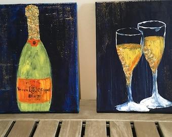POP | FIZZ | CLINK veuve cliquot champagne & glasses pair of acrylic paintings