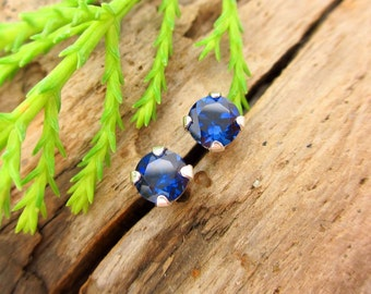 Blue Sapphire Studs - Genuine Sapphire Stud Earrings in Real 14k Gold, Sterling Silver, or Platinum, 3mm, 4mm, 6mm