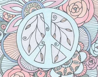 Color Me Peaceful Art Print, Peace, Peace Symbol, Whimsical Art