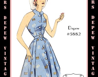 Vintage Sewing Pattern 1950's Halter Dress & Bolero in Any Size - PLUS Size Included - Depew 5882 -INSTANT DOWNLOAD-