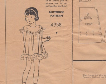 Vintage Sewing Pattern Original Girls' 1920's or 1930's Dress & Bloomers Butterick 4958