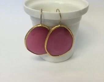 Purple Dangle Earrings Gemstone Gold Plated Drop Earrings