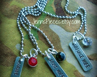 New lower price NECKLACE Marine, Army or Air Force Wife Ballchain with Crystal  SSG900