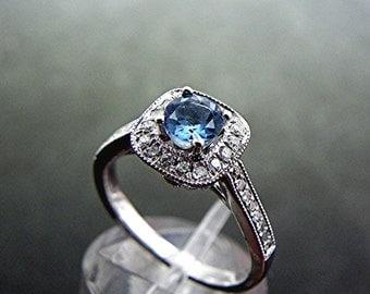 AAAAA Dark Blue Santa Maria Natural Aquamarine (Very Rare)   5mm  .50 Carats   14K white gold Diamond Halo engagement ring MMM