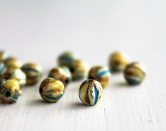 25 Ivory Picasso 6mm Czech Glass Melon Beads