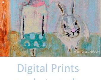 Girl & Bunny Rabbit Painting Print. Easter Art Wall Hanging. Home Wall Decor. Apartment Wall Print. Home Wall Art Prints.