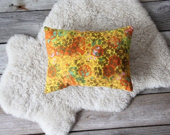 Upholstered Vintage Yellow Flower Pillow