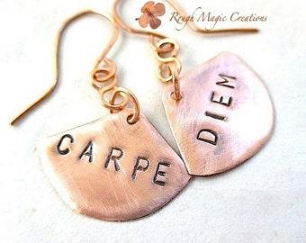 Carpe Diem Earrings. Rustic Copper Dangles. Statement Jewelry. Custom Personalized Earrings. Seize the Day. Womens Boho Chic Message Jewelry