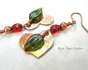 Red and Green Earrings, Leaf Earrings, Copper Earrings, Boho Chic Jewelry, Woodland Style, Extra Long Dangles, Ladybugs, Heart Leaves