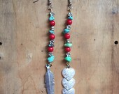 Turquoise and Red Coral Earrings // Stone Jewelry // Bohemian Silver Dangle Earrings // Mismatched Earrings // Southwestern // Boho Gypsy