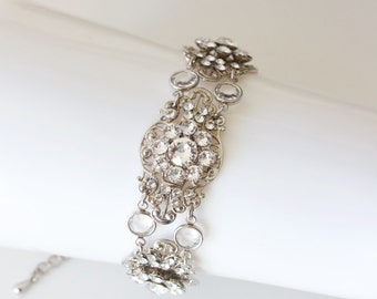 Art Deco Jewelry Crystal Wedding Bracelet Art Deco Bracelet Filigree Bridal Cuff Wedding Jewelry Bridal Jewelry PHOEBE
