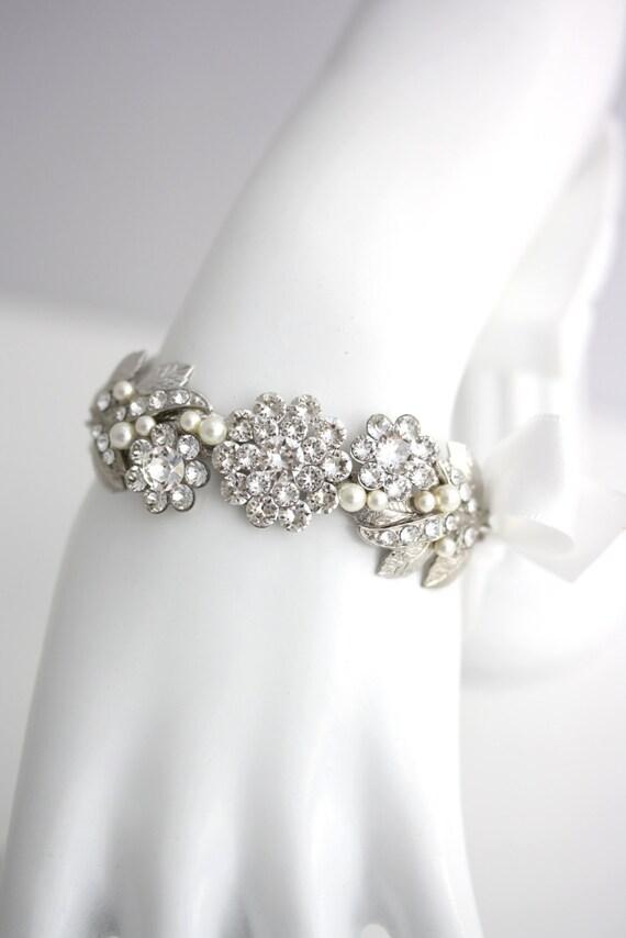 Wedding Bracelet Ribbon Bracelet Silver Leaf Bracelet Swarovski Crystal Rhinestone and Pearl Bridal Cuff White or Ivory Pearl MIER RIBBON
