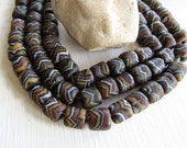 Lampwork glass beads, brown white black striped, matte opaque mild aged look, tube barrel chevron ethnic design indonesia  ( 6 beads) 6bb9-2