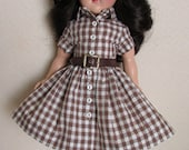 """For 14"""" P-90 Ideal Toni Doll, A 50s Style Shirtwaist Dress, Leather Belt and Leather Shoes"""