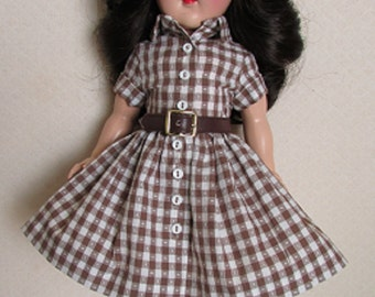"""SALE, REDUCED! For P-90 14"""" Toni Doll, A 50s Style Shirtwaist Dress, Leather Belt and Leather Shoes"""