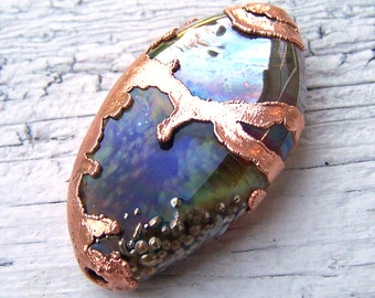 Copper Electroplated Lampwork Glass Focal - copper with purple, blue, green, brown - The World Underwater - SRA AutEvDesigns, ISGB