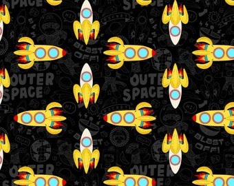 Rockets Black Space Windham Fabric 1 yard