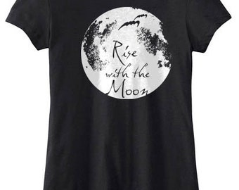 Moon Shirt aesthetic full moon tshirt magick - Rise with the Moon - womens gothic shirt vampire clothing soft grunge werewolf