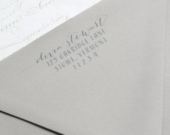 Return Address for Blush Note Cards with Grey Envelopes