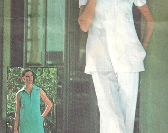 1970s Dress Pattern Tunic Top Pants Uniform Simplicity Jiffy Sewing Uncut Vintage Women's Misses Size 12 Bust 34 Inches