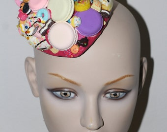 OVER THE TOP Candy sugar mountain macarons buscuit decoden couture bedazzled fascinator headpiece