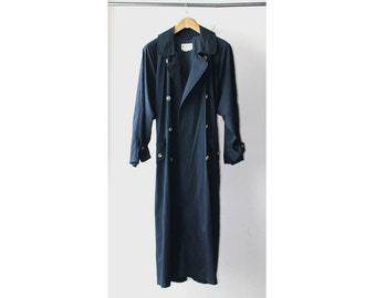 SALE - 1980's INC Navy Maxi Trench Coat