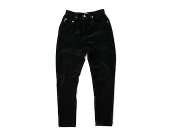 1990's Karen Kane Black Velvet High Waist Pants