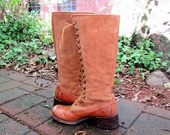 1970s Vintage Frye Leather and Suede Boots Knee High Boots Lace Up Riding Boots Size 6