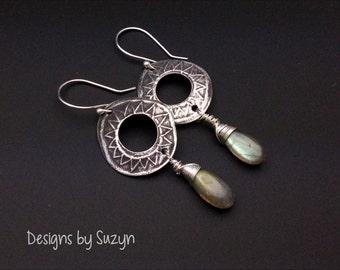 Silver long dangle earrings, Long Oxidized Silver, grey stone AAA+++ Labradorite