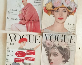 LOT-  1950s Vintage Vogue Fashion Magazine Back Issues