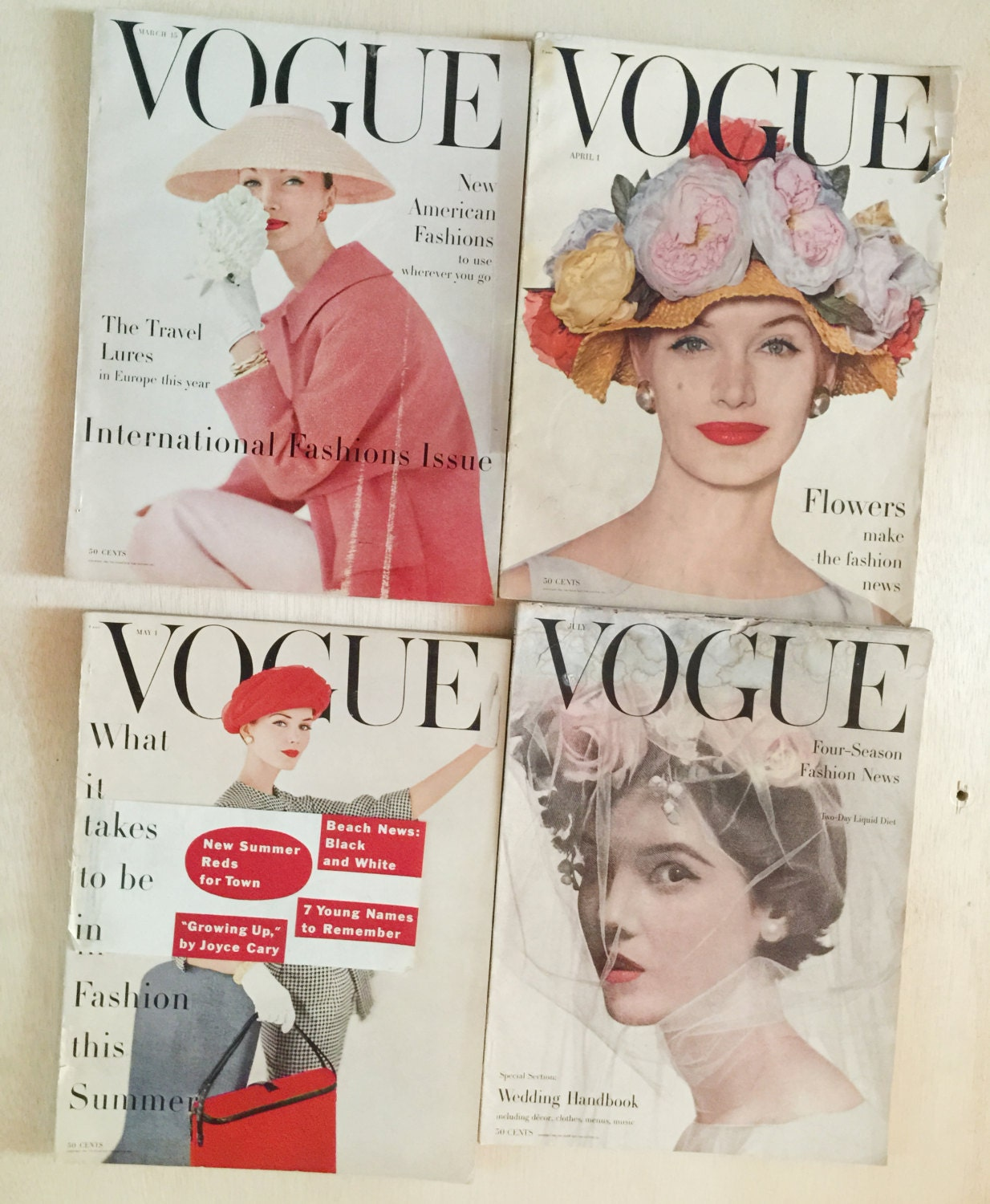 Lot Vintage Vogue Magazines 1988 Cindy Crawford cover 80's Fashion