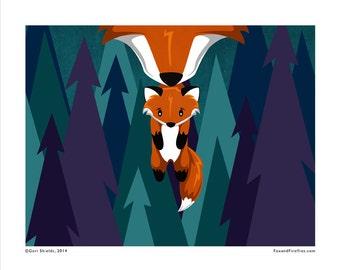 BABY FOX - Fox and Fireflies 8x10 Art Print by Geri Shields