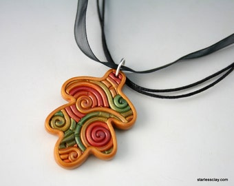 Autumn Oak Leaf Necklace in Polymer Clay Filigree