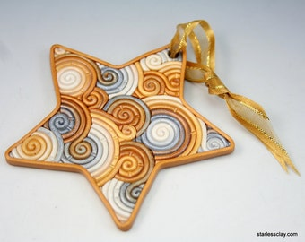 Gold and Silver Star Christmas Ornament in Fimo Polymer Clay Filigree