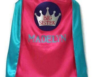 Big Sister Cape - Superhero Cape- Super Sister Cape- Supergirl Cape- Girl Superhero Cape - Superhero Cape for Girls - Kids Cape