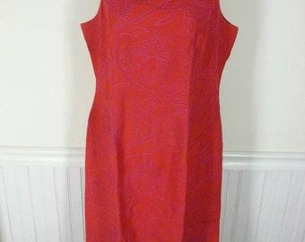 Vtg pink and orange sheath dress size 10