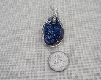 Beautiful blue Drusy and Sterling Silver Pendant