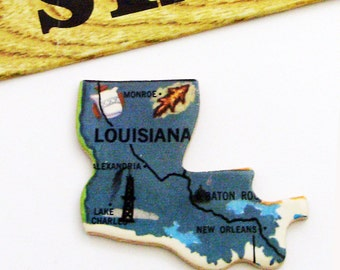 1961 Louisiana Brooch - Pin / Unique Wearable History Gift Idea / Upcycled Vintage Wood Jewelry / Timeless Gift Under 25