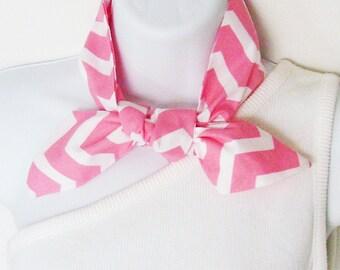 White Pink Melon Chevron Head Scarf / Hair Accessory / Neck Scarf / Handbag or Walker Adornment / Rockabilly Hair Scarf / Gift Under 20
