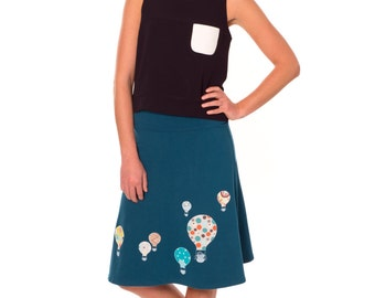 Lovely Design Skirt, A line skirt, Women skirts midi, Fold over waist jersey skirt, Pull on knit skirt, Skirt jersey- Hot air balloons
