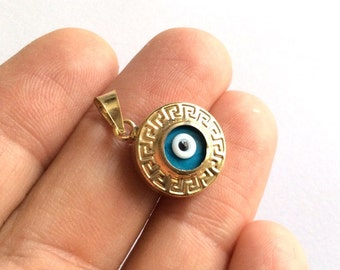 1pc- Matte Gold Plated  Evil Eye Charm-17x15mm-(025-042GP)