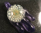 Glass Fume Implosion with dripping Purple Lollypop Pendant Bead --- Majestic Glass Arts ---