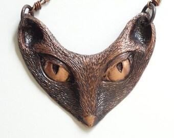 FOX MASK NECKLACE Copper Repousse