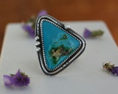 Turquoise Ring. Modern Triangle Natural Turquoise Stone Ring. Big Statement Ring. Artisan Sterling Silver Ring. Size 8 1/2