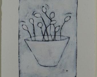 Rosehips in Bowl - Original Painting by Elizabeth Bauman