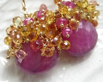 Pink Sapphire Cluster Earrings - Pink Sapphire and Songea Sapphire